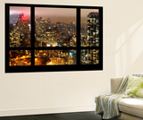 Wall Mural - Window View - Manhattan at Night with the New Yorker Hotel - New York Wall Mural by Philippe Hugonnard