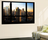Wall Mural - Window View - Theater District Buildings of Manhattan at Sunset - New York Wall Mural by Philippe Hugonnard