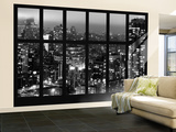 Wall Mural - Window View - Manhattan at Night with the New Yorker Hotel - New York Wall Mural – Large by Philippe Hugonnard