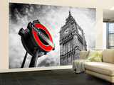 Wall Mural - Westminster Underground Sign - Subway Station Sign - Big Ben - City of London Wall Mural – Large by Philippe Hugonnard