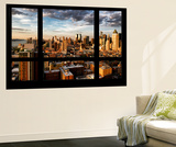 Wall Mural - Window View - Landscape of Manhattan at Sunset - Theater District - New York Wall Mural by Philippe Hugonnard