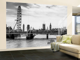 Wall Mural - The Millennium Wheel and Houses of Parliament - Hungerford Bridge and Big Ben Wall Mural – Large by Philippe Hugonnard
