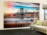 Wall Mural - The Manhattan Bridge and the Empire State Building of Brooklyn - Manhattan - New York Reproduction murale (géante) par Philippe Hugonnard