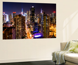Wall Mural - Manhattan Cityscape at Night - Times Square - New York City - USA Vægplakat af Philippe Hugonnard