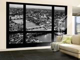 Wall Mural - Window View - London with St. Paul's Cathedral at Nightfall - River Thames Wall Mural – Large by Philippe Hugonnard