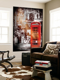 Wall Mural - Loving Couple Kissing and Red Telephone Booth - London - UK - England Wall Mural by Philippe Hugonnard