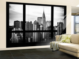 Wall Mural - Window View - Manhattan Skyscrapers with the Chrysler Building - New York Wall Mural – Large by Philippe Hugonnard
