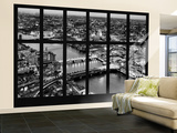 Wall Mural - Window View - London with St. Paul's Cathedral at Nightfall - River Thames Gran mural por Philippe Hugonnard