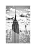 Love NY Series - Empire State Building and 1WTC - Manhattan - New York - USA - B&W Photography Photographic Print by Philippe Hugonnard