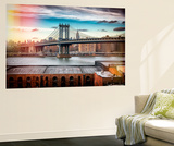 Wall Mural - The Manhattan Bridge and the Empire State Building of Brooklyn - Manhattan - New York Reproduction murale par Philippe Hugonnard