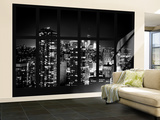 Wall Mural - Window View - Manhattan B&W at Night with the One World Trade Center - New York Wall Mural – Large by Philippe Hugonnard
