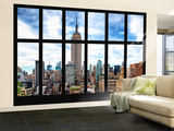 Wall Mural - Window View - Manhattan Cityscape with the Empire State Building - New York Reproduction murale (géante) par Philippe Hugonnard