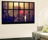 Wall Mural - Window View - Manhattan by Foggy Night - The New Yorker Hotel Sign - New York Wall Mural by Philippe Hugonnard
