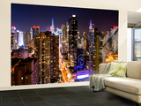 Philippe Hugonnard - Wall Mural - Manhattan Cityscape at Night - Times Square - New York City - USA - Duvar Resimleri - Büyük