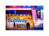 Entrance of a Subway Station in Times Square - Urban Street Scene by Night - Manhattan - New York