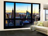 Wall Mural - Window View - Manhattan Skyline with the Empire State Building - New York Wall Mural – Large by Philippe Hugonnard