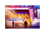 Instants of NY Series - Entrance of a Subway Station in Times Square - Urban Street Scene by Night Photographic Print by Philippe Hugonnard