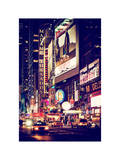 NYC Urban Scene with Yellow Taxis by Night - 42nd Street and Times Square - Manhattan - New York Photographic Print by Philippe Hugonnard