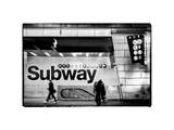 Entrance of a Subway Station in Times Square - Urban Street Scene by Night - Manhattan Photographic Print by Philippe Hugonnard