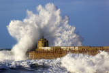 Portreath Wave Breaks over Pier in Storm Photographic Print