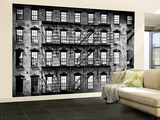 Wall Mural - New York Facade of Building with Fire Escapes - USA Reproduction murale (géante) par Philippe Hugonnard