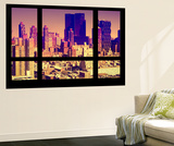 Wall Mural - Window View - City of NYC - Buildings of Manhattan at Sunset - New York Wall Mural by Philippe Hugonnard
