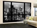 Wall Mural - Window View - Manhattan Skyscrapers at Night - New York Wall Mural – Large by Philippe Hugonnard