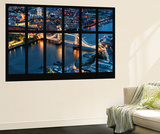 Wall Mural - Window View - City of London with the Tower Bridge at Night - London - UK - England Wall Mural by Philippe Hugonnard