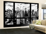 Wall Mural - Window View - Times Square and 42nd Street at Nightfall - Manhattan - New York Wall Mural – Large by Philippe Hugonnard