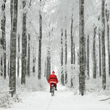 Father Christmas on a Bicycle in Snow Photographic Print