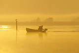 Fisherman in Boat at Dawn Photographic Print