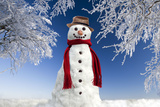 Snowman in Winter Snow Photographic Print