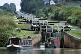 Caen Hill Locks with Narrow Boats Photographic Print