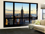 Wall Mural - Window View - Manhattan with the Empire State Building and 1 WTC - New York Wall Mural – Large by Philippe Hugonnard