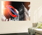 Wall Mural - Big Ben and Westminster Station Underground - Subway Station Sign - London - UK Wall Mural by Philippe Hugonnard