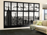 Wall Mural - Window View - Cityscape of Manhattan with the Empire State Building and 1 WTC - NYC Reproduction murale géante par Philippe Hugonnard