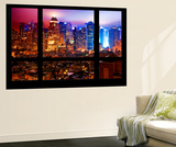 Wall Mural - Window View - Manhattan by Foggy Night - Times Square and Theater District - New York Wall Mural by Philippe Hugonnard