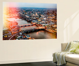 Wall Mural - View of City of London with St. Paul's Cathedral at Nightfall - River Thames - London Wall Mural by Philippe Hugonnard