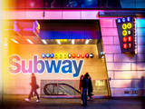 Instants of NY Series - Entrance of a Subway Station in Times Square - Urban Street Scene by Night