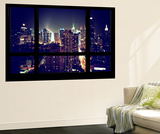 Wall Mural - Window View - Manhattan by Night - Times Square and 42nd Street - New York Wall Mural by Philippe Hugonnard