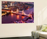 Wall Mural - View of City of London with the Tower Bridge at Night - London - UK Vægplakat af Philippe Hugonnard