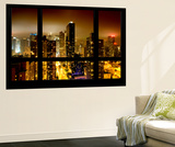 Wall Mural - Window View - Manhattan by Foggy Night - Times Square and 42nd Street - New York Wall Mural by Philippe Hugonnard