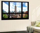 Wall Mural - Window View - Manhattan Cityscape with the Empire State Building - New York Wall Mural by Philippe Hugonnard