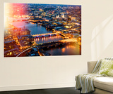 Wall Mural - View of City of London with St. Paul's Cathedral and River Thames at Night - London Wall Mural by Philippe Hugonnard