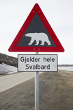 Polar Bear Road Sign Photographic Print