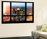 Wall Mural - Window View - London with The Walkie-Talkie and The Gherkin Buildings at Nightfall Wall Mural by Philippe Hugonnard