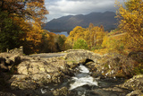 Ashness Bridge in Autumn Looking Towards Derwent Photographic Print