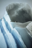 Striated Iceberg Jade to Blue with Chinstrap Penguins Photographic Print