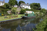 Green Canal Barge Moored on Grand Western Union Photographic Print