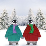 Penguins in Duffle Coats and Scarves Holding Photographic Print